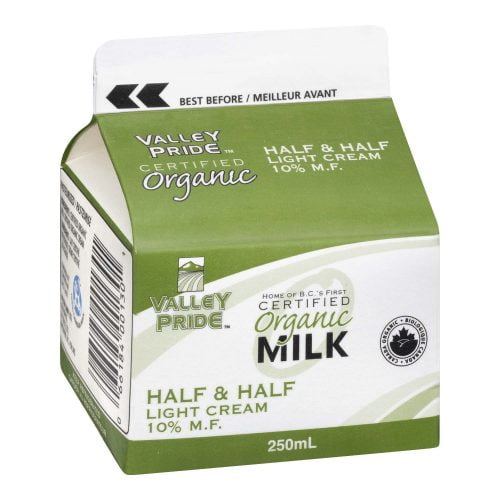 Valley Pride Organic Half & Half, 250mL – 32/cs