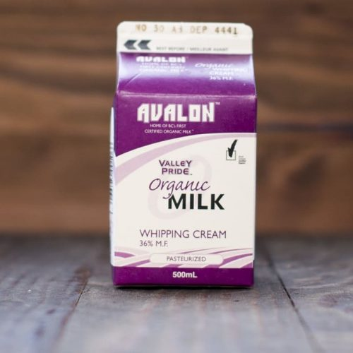 Valley Pride Organic Whipping Cream, 500mL – 28/cs