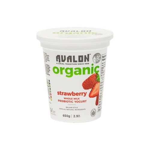 Avalon Organic Strawberry Yogurt, 650g – 6/cs